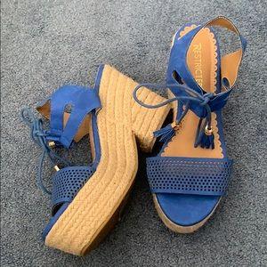 Blue Espadrille Platform Sandal